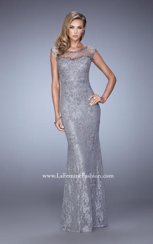 Picture of: Embellished Lace Evening Dress with Cap Sleeves, Style: 20673, Detail Picture 2