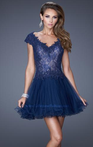 Picture of: V Neck Prom Dress with Tulle Skirt and Scoop Back, Style: 20676, Main Picture