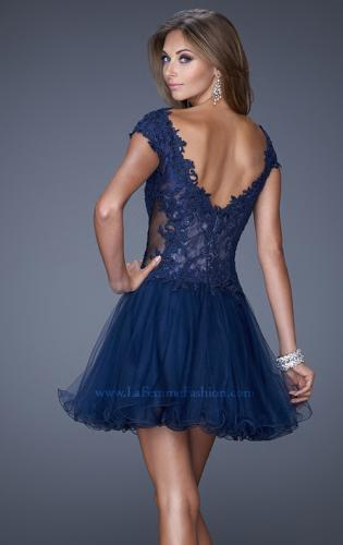 Picture of: V Neck Prom Dress with Tulle Skirt and Scoop Back, Style: 20676, Back Picture