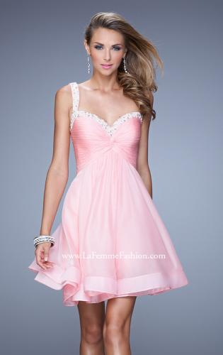 Picture of: Flirty Chiffon Skirt Cocktail Dress with Pearls and Stones, Style: 20677, Detail Picture 1