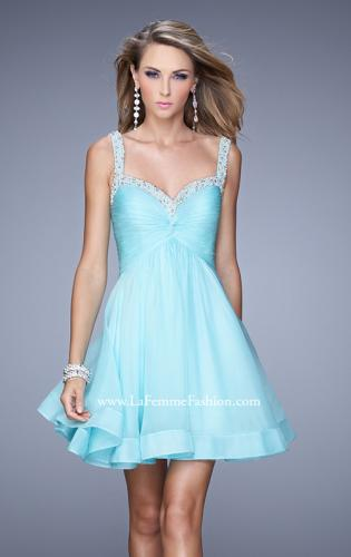 Picture of: Flirty Chiffon Skirt Cocktail Dress with Pearls and Stones, Style: 20677, Detail Picture 2