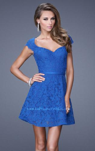 Picture of: Sheer Cap Sleeve Lace Cocktail Dress with Thin Belt, Style: 20699, Main Picture
