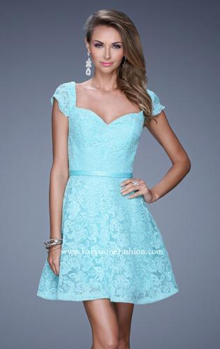 Picture of: Sheer Cap Sleeve Lace Cocktail Dress with Thin Belt, Style: 20699, Detail Picture 2