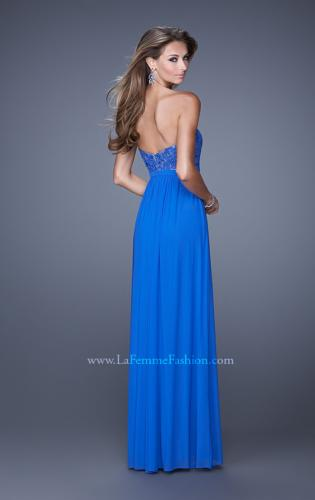 Picture of: Long Net Jersey Prom Dress with Lace Covered Bodice, Style: 20700, Back Picture