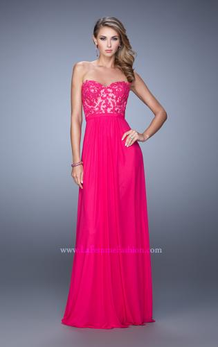 Picture of: Long Net Jersey Prom Dress with Lace Covered Bodice, Style: 20700, Detail Picture 2