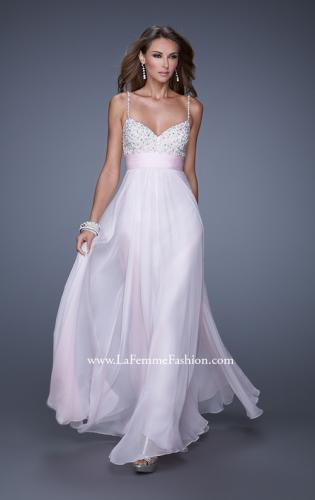 Picture of: Spaghetti Strap Rhinestone and Pearl Prom Dress, Style: 20717, Main Picture