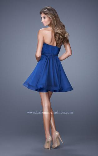 Picture of: Strapless Chiffon Short Dress with Gathered Waist, Style: 20721, Back Picture