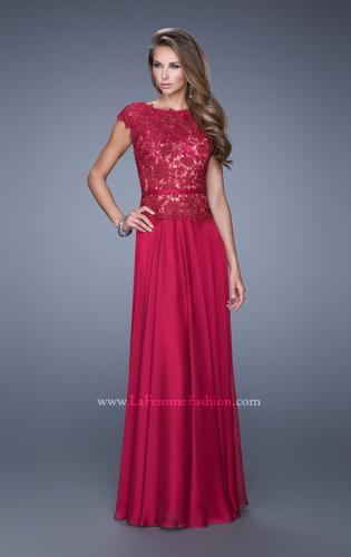 Picture of: Lace Bodice Cap Sleeve Prom Dress with Thin Belt, Style: 20778, Main Picture