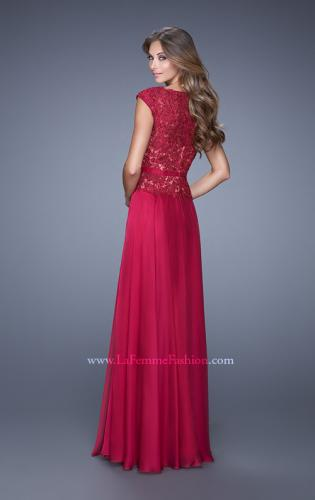 Picture of: Lace Bodice Cap Sleeve Prom Dress with Thin Belt, Style: 20778, Back Picture