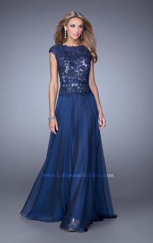 Picture of: Lace Bodice Cap Sleeve Prom Dress with Thin Belt, Style: 20778, Detail Picture 1