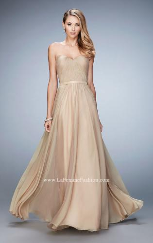 Picture of: Long Strapless Gown with Pleated Bodice and Belt, Style: 20808, Main Picture