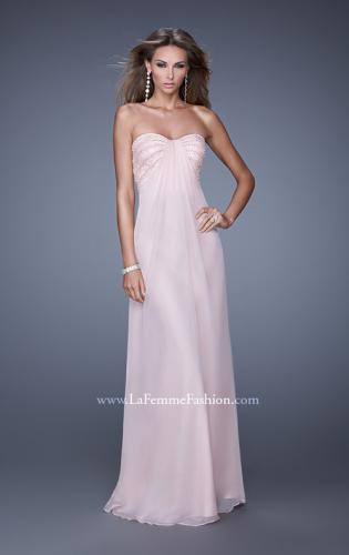 Picture of: Long Strapless Gown with Empire Waist and Pearls, Style: 20850, Main Picture
