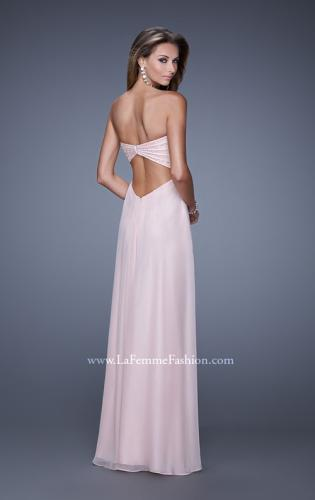 Picture of: Long Strapless Gown with Empire Waist and Pearls, Style: 20850, Back Picture