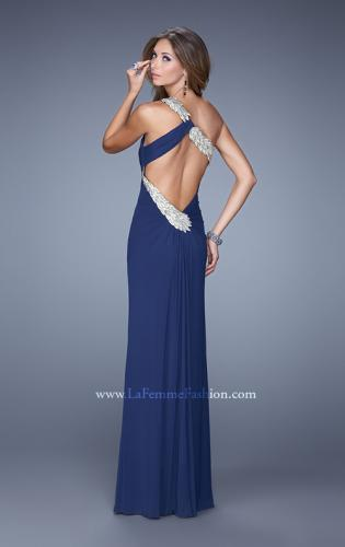 Picture of: One Shoulder Long Jersey Prom Dress with Open Back, Style: 20865, Back Picture