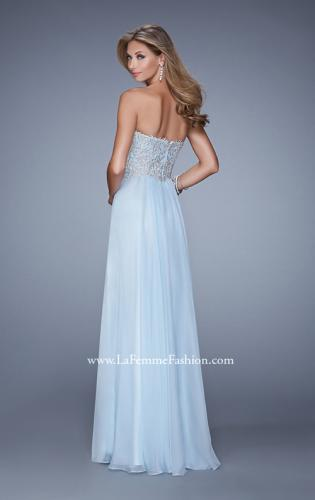Picture of: Embellished Strapless Dress with Gathered Chiffon Skirt, Style: 20888, Back Picture