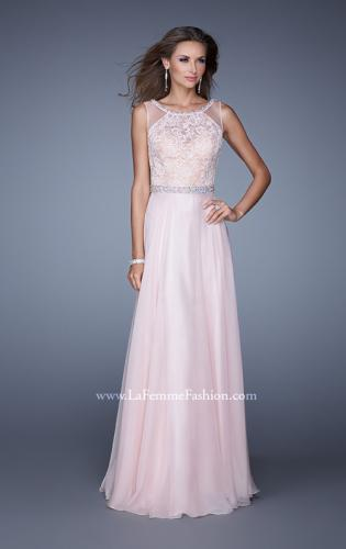 Picture of: Sheer Straps and Lace Bodice Prom Dress with Belt, Style: 20899, Main Picture