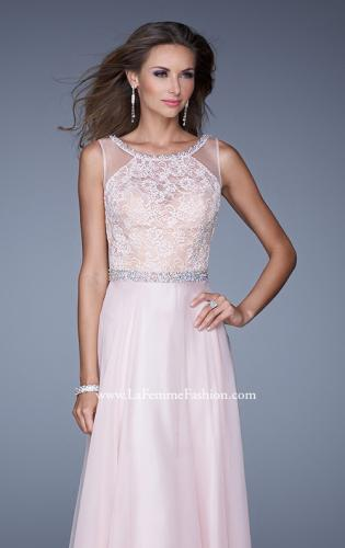 Picture of: Sheer Straps and Lace Bodice Prom Dress with Belt, Style: 20899, Detail Picture 1