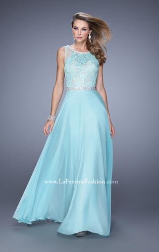 Picture of: Sheer Straps and Lace Bodice Prom Dress with Belt, Style: 20899, Detail Picture 2
