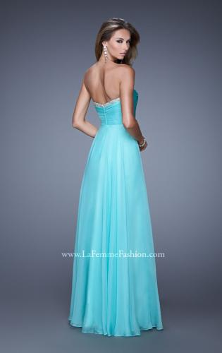 Picture of: Ruched and Beaded Long Chiffon Prom Dress, Style: 20901, Back Picture