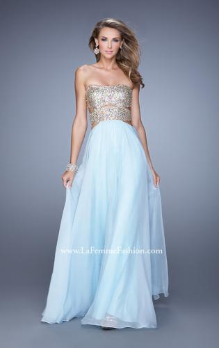 Picture of: Strapless Prom Gown with Cut Outs and Sequins, Style: 20904, Detail Picture 1