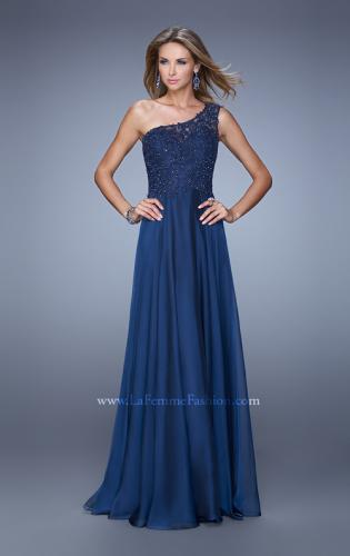 Picture of: Long One Shoulder Chiffon Dress with Sheer Strap and Back, Style: 20907, Detail Picture 2