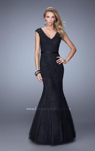 Picture of: Long Lace Sleeveless Mermaid Dress with V Neckline, Style: 20918, Main Picture
