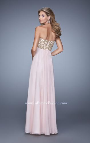 Picture of: Empire Waist Long Prom Dress with Metallic Pearls, Style: 20931, Back Picture