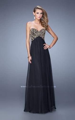 Picture of: Empire Waist Long Prom Dress with Metallic Pearls, Style: 20931, Detail Picture 2