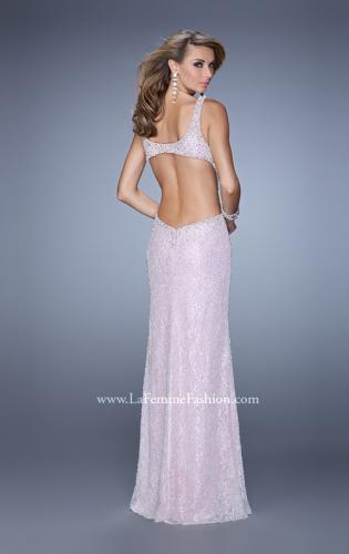 Picture of: Long Beaded Lace Gown with High Neckline and Cut Outs, Style: 20933, Back Picture