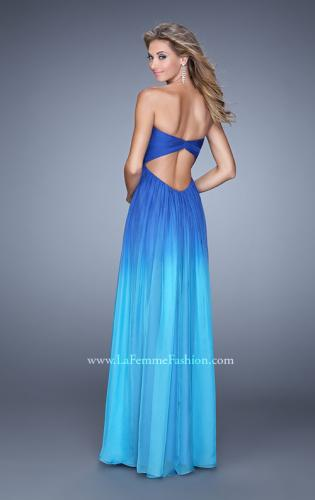 Picture of: Long Ombre Chiffon Prom Dress with Gathered Waist, Style: 20986, Back Picture