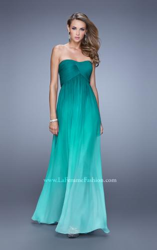 Picture of: Long Ombre Chiffon Prom Dress with Gathered Waist, Style: 20986, Detail Picture 1