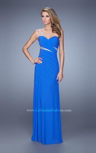 Picture of: One Shoulder Prom Dress with Cut Outs and Rhinestones, Style: 21011, Main Picture