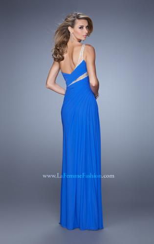 Picture of: One Shoulder Prom Dress with Cut Outs and Rhinestones, Style: 21011, Back Picture