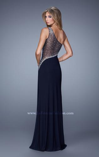 Picture of: Long One Shoulder Prom Dress with Iridescent Stones, Style: 21026, Back Picture