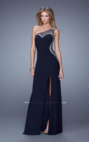 Picture of: Long One Shoulder Prom Dress with Iridescent Stones, Style: 21026, Detail Picture 1