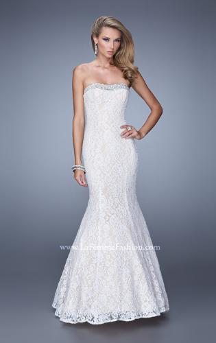 Picture of: Long Lace Mermaid Gown with Pearls and Rhinestones, Style: 21034, Main Picture
