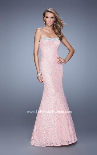 Picture of: Long Lace Mermaid Gown with Pearls and Rhinestones, Style: 21034, Detail Picture 2
