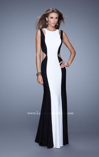 Picture of: Jersey Prom Dress with Modest Neckline and Pearls, Style: 21049, Main Picture