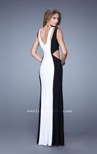 Picture of: Jersey Prom Dress with Modest Neckline and Pearls, Style: 21049, Back Picture