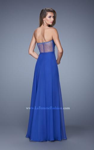 Picture of: Charming Chiffon Dress with Sheer Sides and Stones, Style: 21054, Back Picture