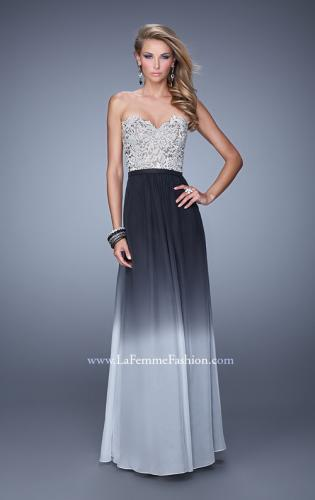 Picture of: Long Ombre Chiffon Dress with Beading and Belt, Style: 21074, Main Picture