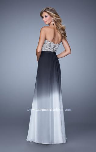 Picture of: Long Ombre Chiffon Dress with Beading and Belt, Style: 21074, Back Picture