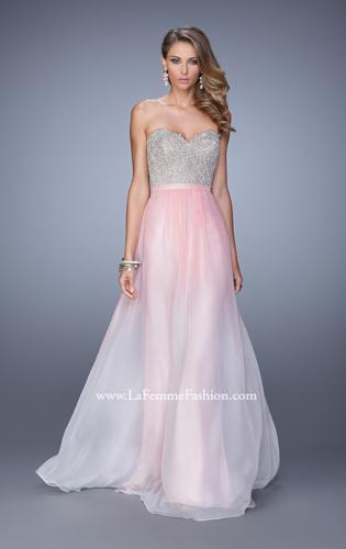 Picture of: Long Ombre Chiffon Dress with Beading and Belt, Style: 21074, Detail Picture 1