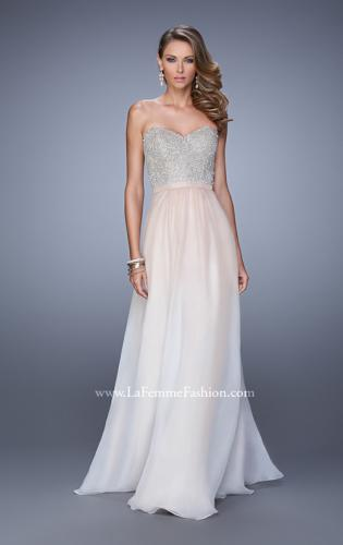 Picture of: Long Ombre Chiffon Dress with Beading and Belt, Style: 21074, Detail Picture 2