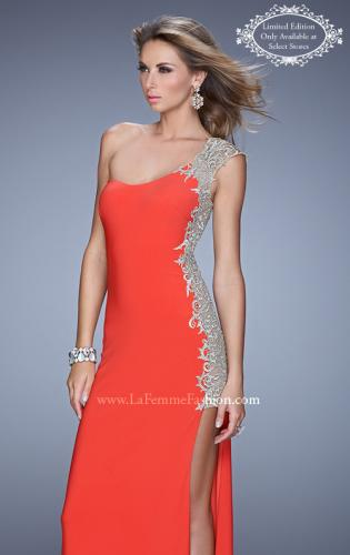 Picture of: One Shoulder Prom Gown with Metallic Embroidery, Style: 21076, Main Picture