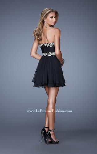 Picture of: Fun Cocktail Dress with Tiered Skirt and Ruched Bodice, Style: 21081, Back Picture