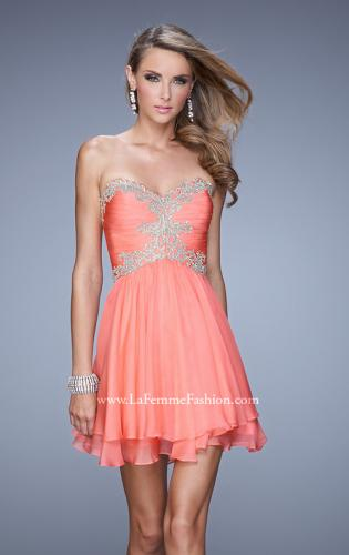 Picture of: Fun Cocktail Dress with Tiered Skirt and Ruched Bodice, Style: 21081, Detail Picture 1