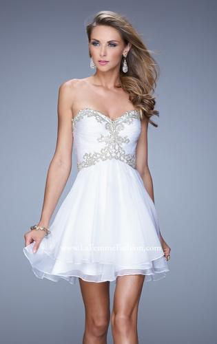 Picture of: Fun Cocktail Dress with Tiered Skirt and Ruched Bodice, Style: 21081, Detail Picture 2