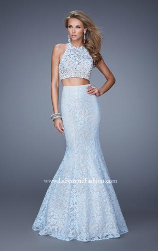 Picture of: Glam Two Piece Halter Lace Dress with Pearl Detail, Style: 21087, Main Picture