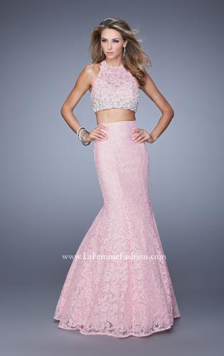 Picture of: Glam Two Piece Halter Lace Dress with Pearl Detail, Style: 21087, Detail Picture 1